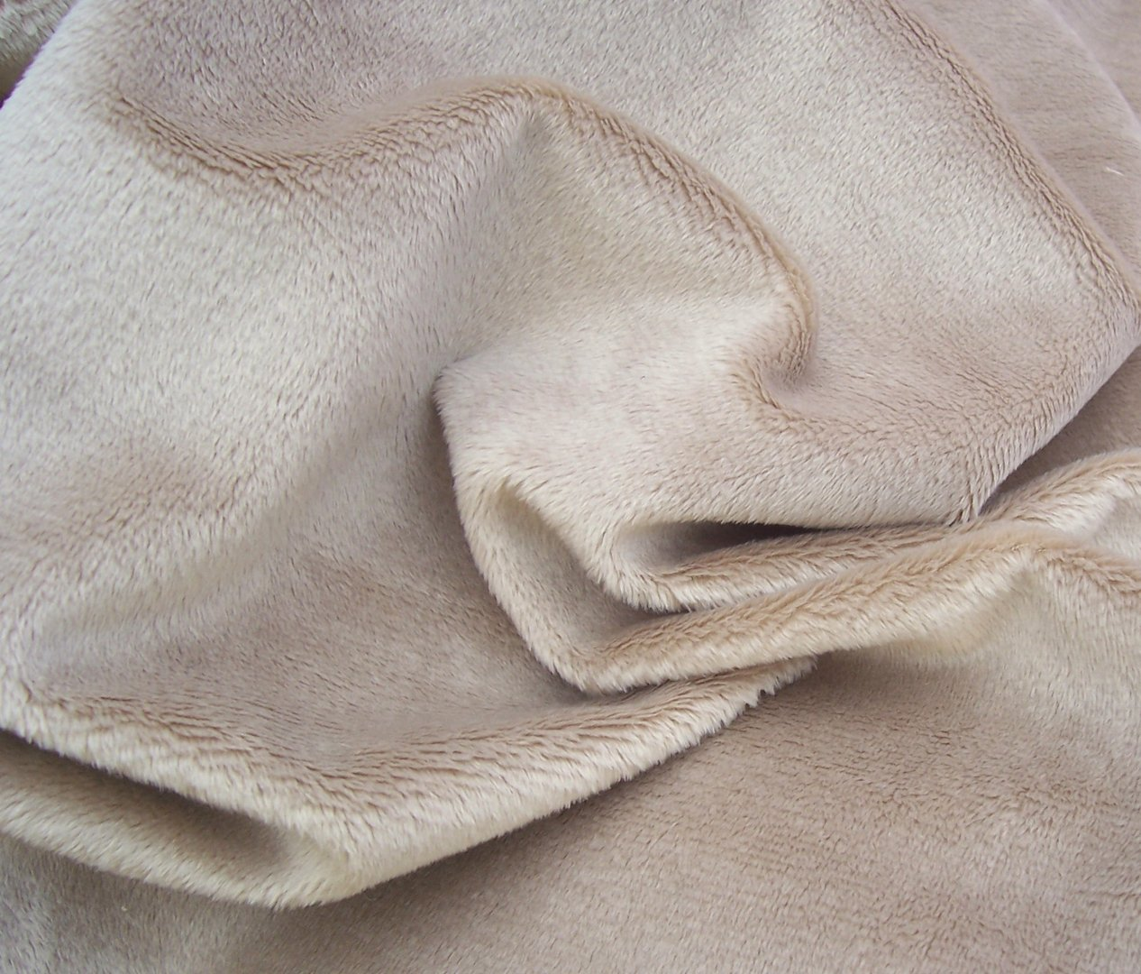 Light brown teddy bear faux fur fabric