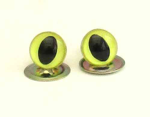 Yellow pearl Cat's eyes - plastic safety 9mm