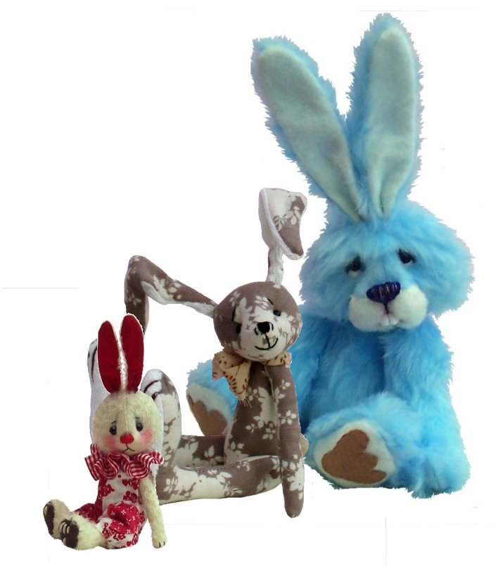 Rabbits Bundle three soft toy sewing patterns