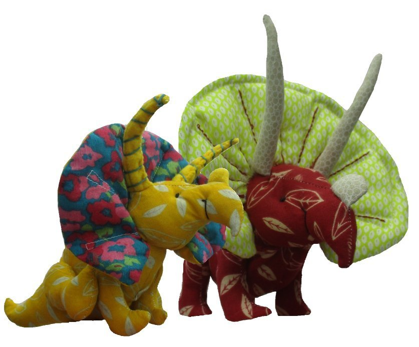 Dinosaur soft toy sewing pattern.  Triceratops