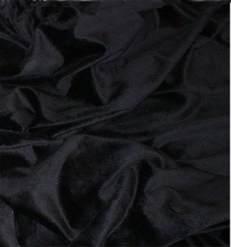 Black silky soft faux fur plush fabric
