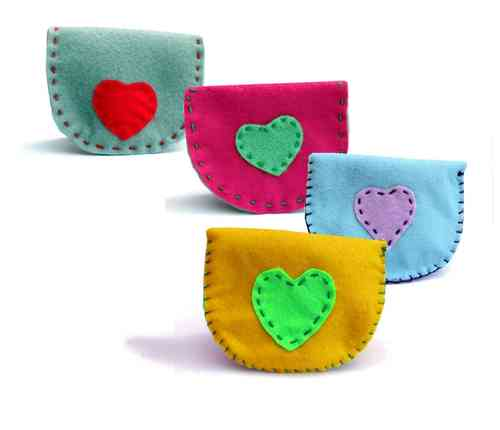 Colourful felt purse kit