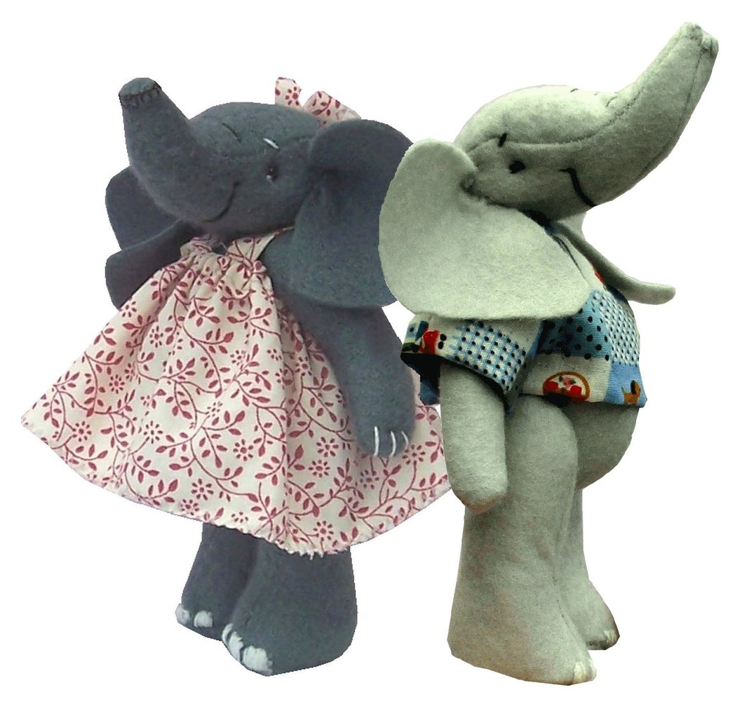Felt Elephant sewing kits Erica and Eddie (pack of 2 kits)