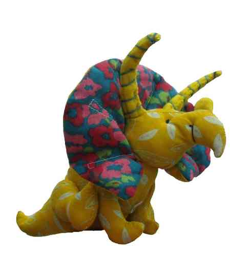 Dinosaur soft toy digital sewing pattern.  Triceratops