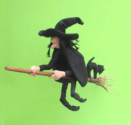 Mistress Cackle cloth doll witch sewing pattern