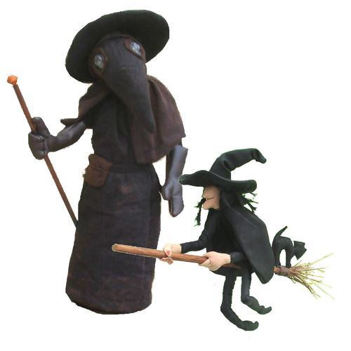 Plague Doctor and Cackle Witch. Medieval pattern pack