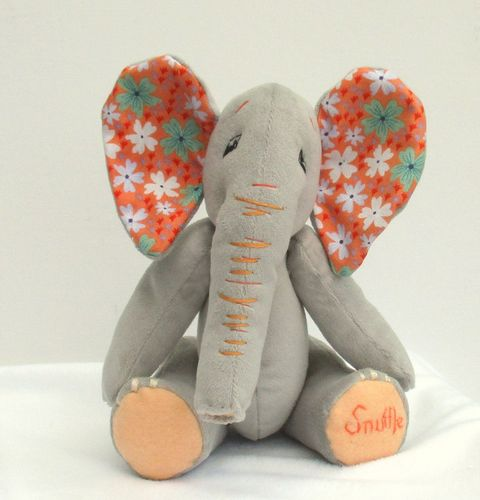 Snuffle soft toy elephant sewing pattern.  Child-friendly