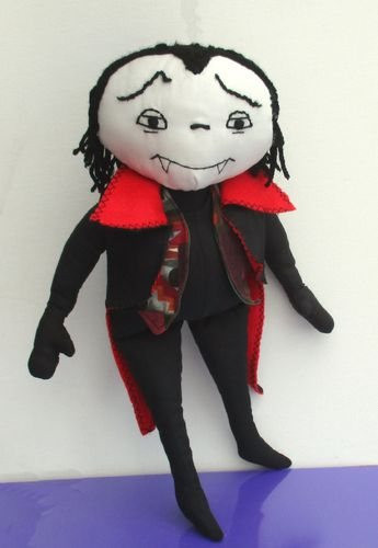 Otto huggable cloth doll vampire sewing pattern.   Halloween character