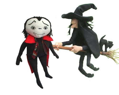 Halloween pattern bundle.  Pack of two sewing patterns.  Witch and Vampire cloth dolls