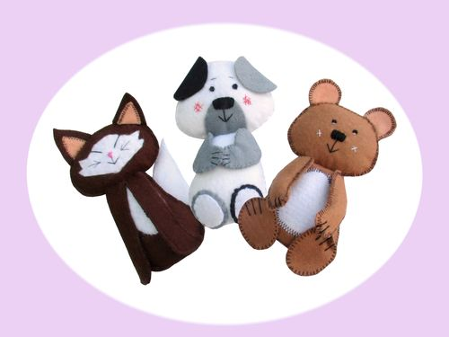 Scribble pets sewing pattern.  (includes kitten, puppy and ted)