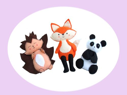 Scribble wildlife felties sewing pattern.  (includes panda, fox and hedgehog )
