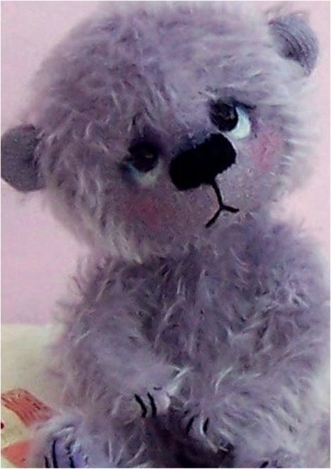 bear in hand dyed purple mohair