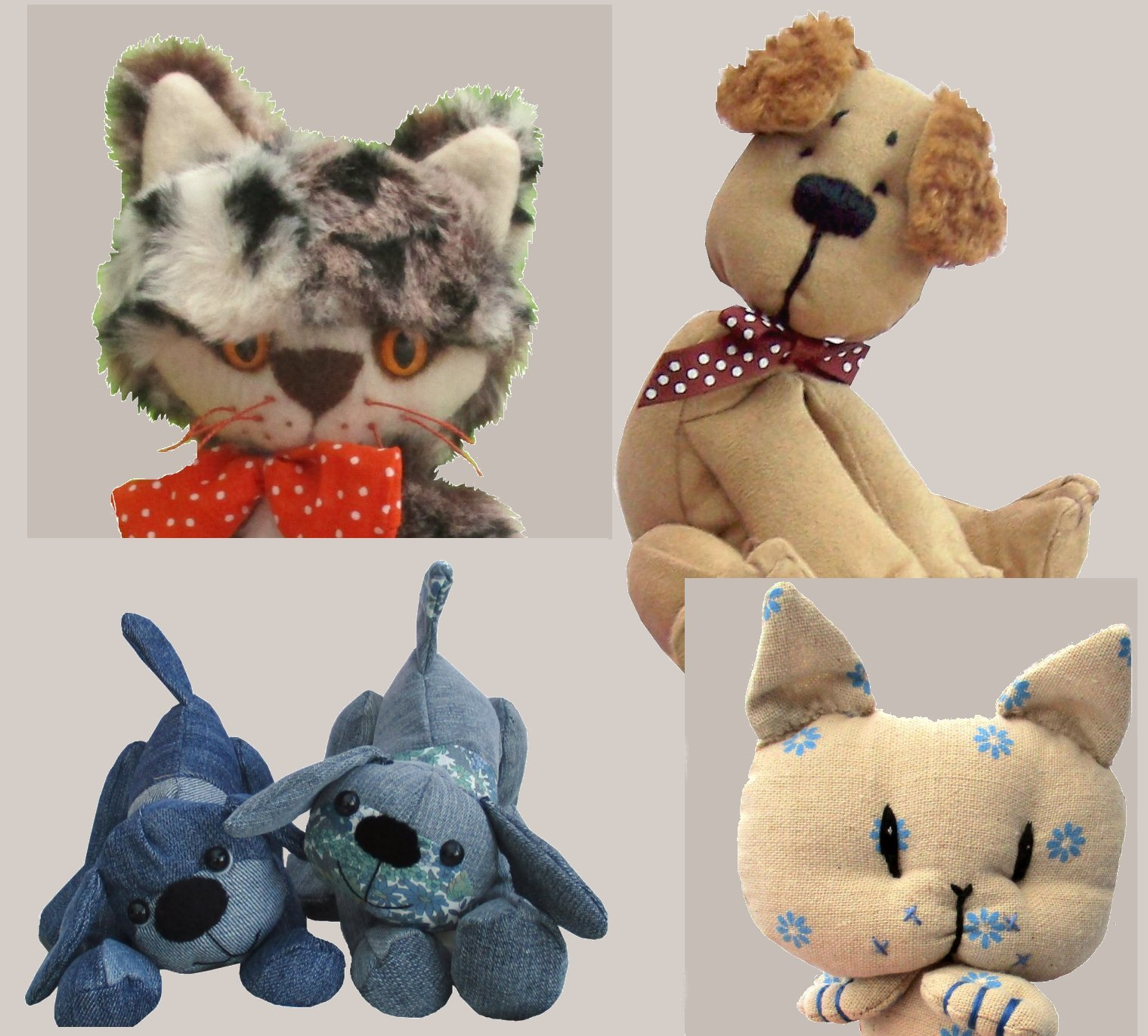 dog and cat digital soft toy sewing patterns  PDF