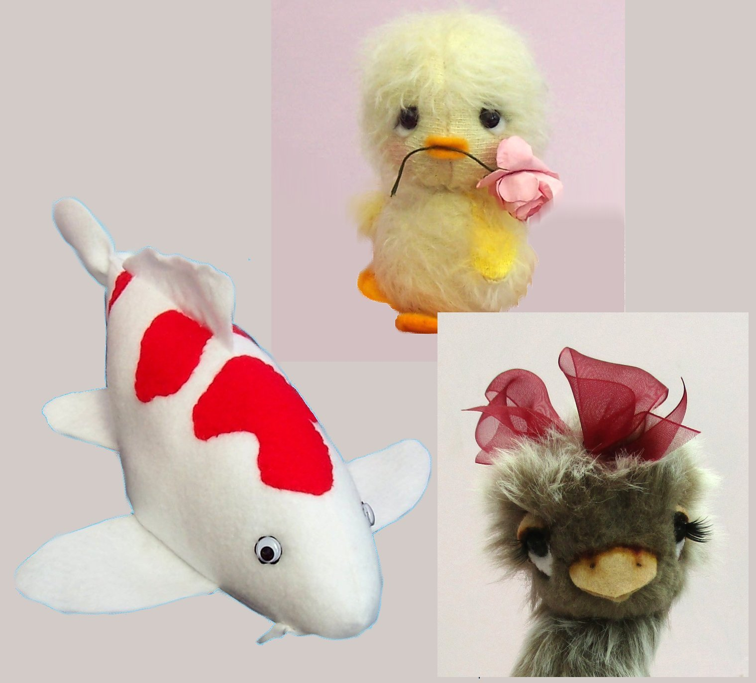 fish and bird soft toy digital sewing patterns